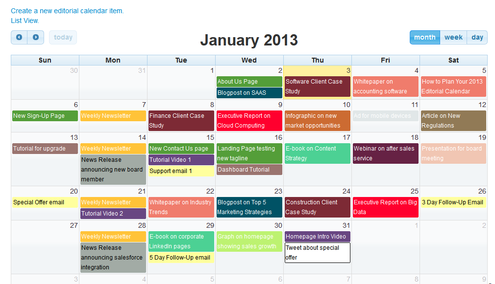 Fortune Editorial Calendar